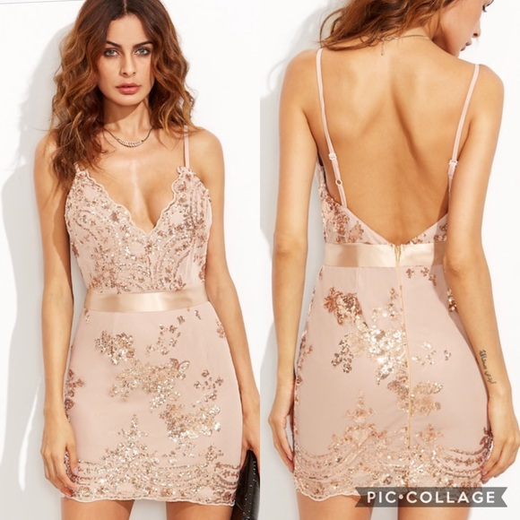 5521d8f897 SHEIN Dresses | 30 Open Back Plunge Sequins Cami Dress | Poshmark